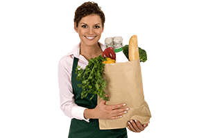 Lady holding paper bag filled with groceries